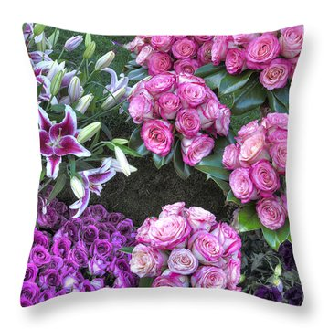 Pink, Purple And Lillies Throw Pillow