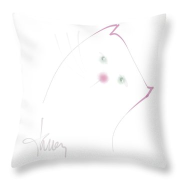 Throw Pillow featuring the mixed media Pink Pussycat by Larry Talley