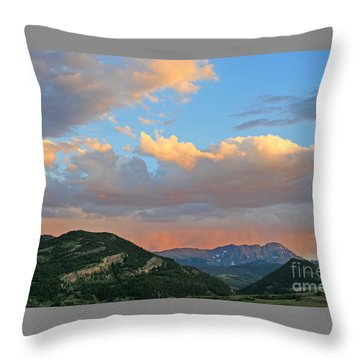 Pink Rain Over The Sleeping Indian Throw Pillow by Paula Guttilla