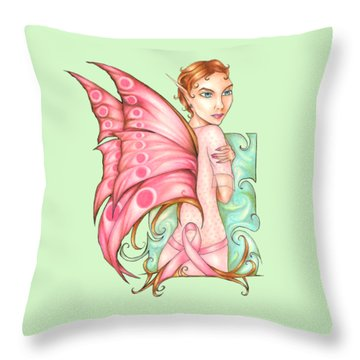 Pink Ribbon Fairy For Breast Cancer Awareness Throw Pillow
