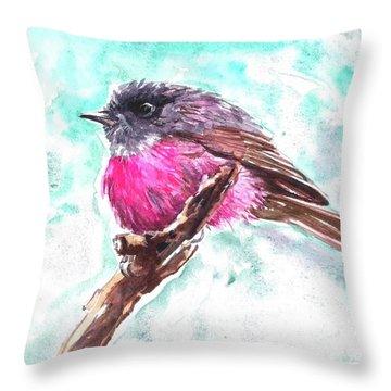 Pink Robin  Throw Pillow