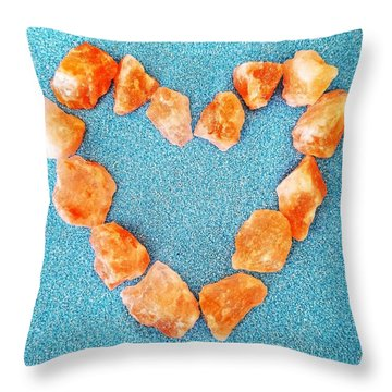 Pink Rocks Heart Throw Pillow