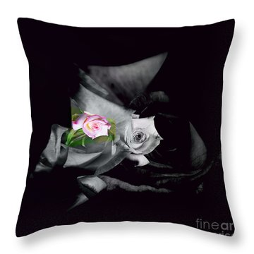 Pink Rose 2 Shades Of Grey Throw Pillow