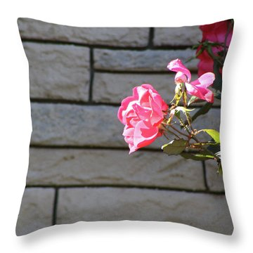 Pink Rose Against Grey Bricks Throw Pillow by Michele Wilson