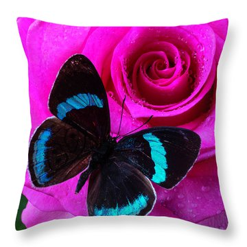 Pink Rose And Black Blue Butterfly Throw Pillow