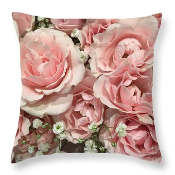 Pink Rose Bouquet Throw Pillow
