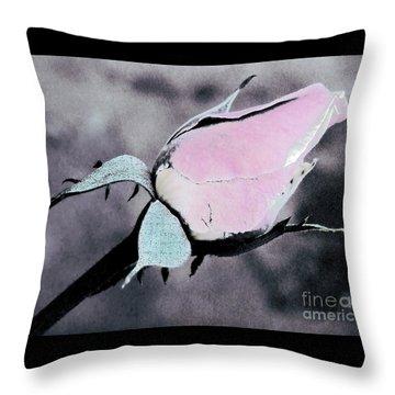 Pink Rose Bud Throw Pillow by Karen Lewis