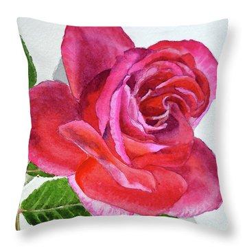 Pink Rose Close Up Watercolor Throw Pillow