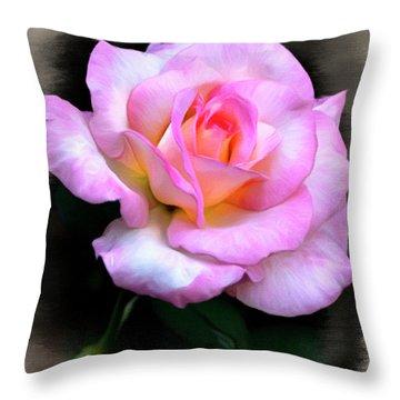 Pink Rose Faux Pastel Throw Pillow