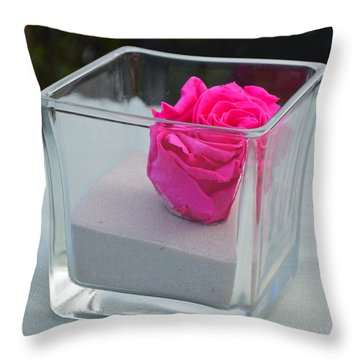 Pink Rose In Venice Throw Pillow