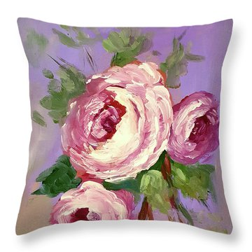 Pink Rose Throw Pillow by Janet Garcia