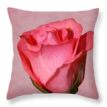 Throw Pillow featuring the photograph Pink Rose by Judy Vincent