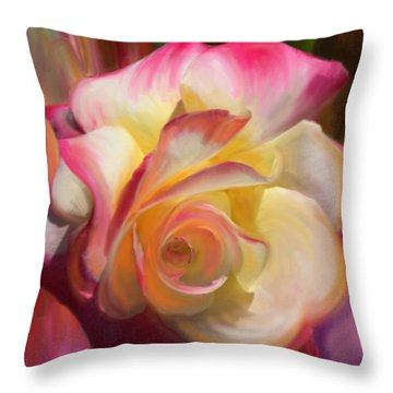 Pink Rose Throw Pillow by Julianne  Ososke