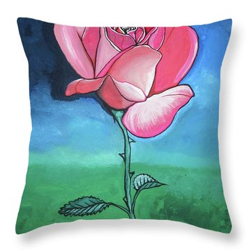Throw Pillow featuring the painting Pink Rose by Mary Ellen Frazee