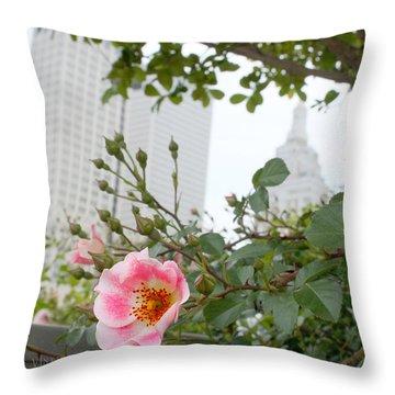 Pink Rose Of Tulsa Throw Pillow
