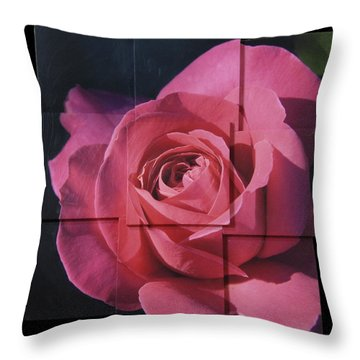 Pink Rose Photo Sculpture Throw Pillow