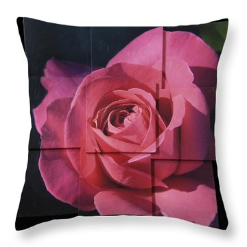 Pink Rose Photo Sculpture Throw Pillow