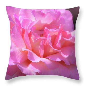 Throw Pillow featuring the photograph Pink Rose Ruffles by Julie Palencia