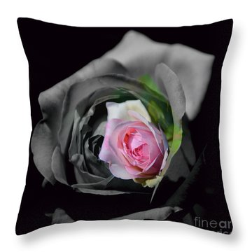 Pink Rose Shades Of Grey Throw Pillow