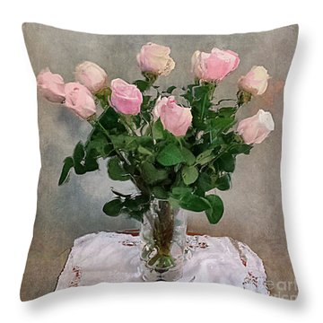 Throw Pillow featuring the digital art Pink Roses by Alexis Rotella