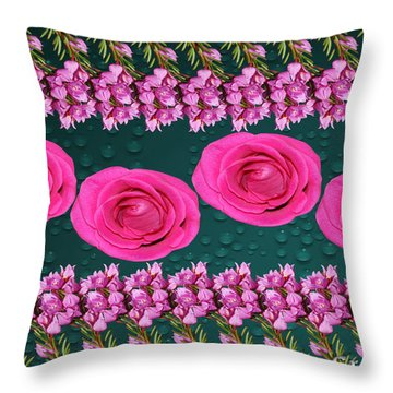 Pink Roses Floral Display Throw Pillow