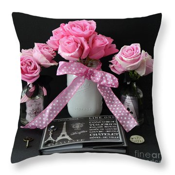 Throw Pillow featuring the photograph Pink Roses French Decor - Pink And Black Parisian Wall Art - Pink Roses French Home Decor by Kathy Fornal