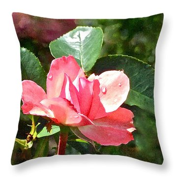 Pink Roses In The Rain 2 Throw Pillow