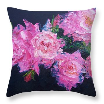 Pink Roses Oil Painting Throw Pillow