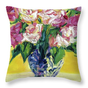 Pink Roses In Blue Deft Vase Throw Pillow