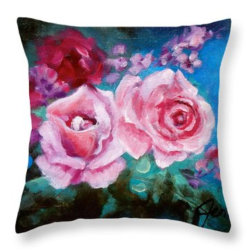Pink Roses On Blue Throw Pillow