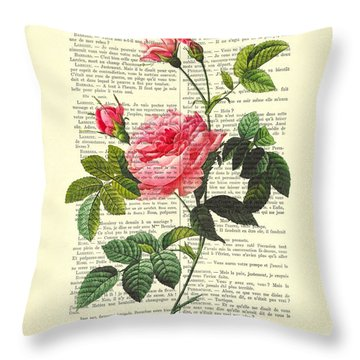 Pink Roses, Valentines Gift Throw Pillow