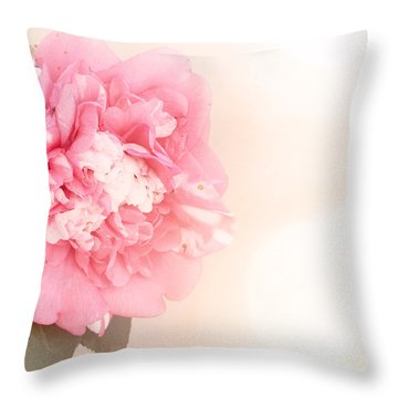 Throw Pillow featuring the photograph Pink Ruffled Camellia by Cindy Garber Iverson