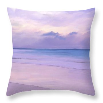 Pink Sand Purple Clouds Beach Throw Pillow