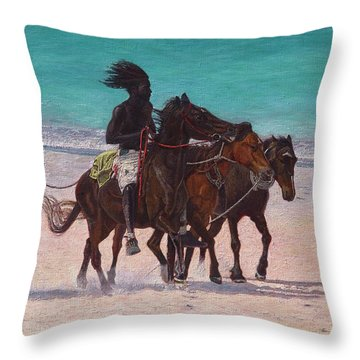 Pink Sand Rider Throw Pillow
