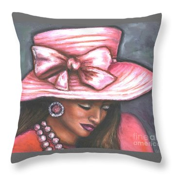 Throw Pillow featuring the painting Pink Satin Hat by Alga Washington