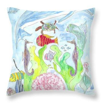 Pink Scalop Sea Creatures Throw Pillow