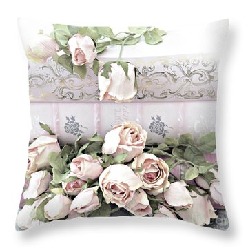 Throw Pillow featuring the photograph Pink Shabby Chic Roses On Pink Cottage Books - Shabby Cottage Pink Roses Home Decor by Kathy Fornal