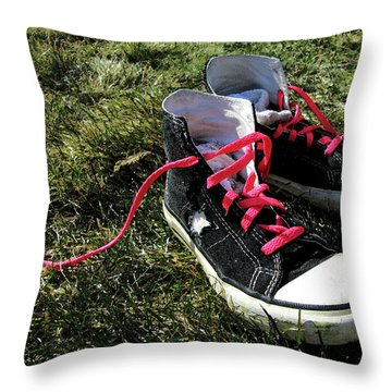 Pink Shoe Laces Throw Pillow