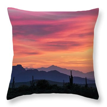 Throw Pillow featuring the photograph Pink Silhouette Sunset  by Saija Lehtonen