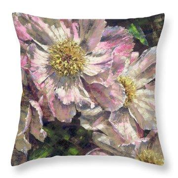 Pink Single Peonies Throw Pillow