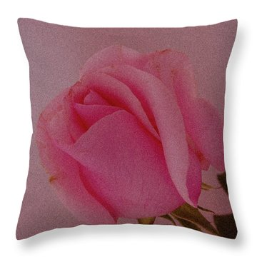 Pink Single Rose Throw Pillow