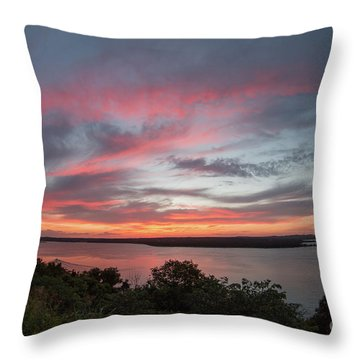 Pink Skies And Clouds At Sunset Over Lake Travis In Austin Texas Throw Pillow