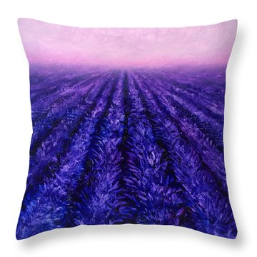 Abstract Lavender Field Landscape - Contemporary Landscape Painting - Amethyst Purple Color Block Throw Pillow