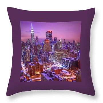 Pink Sky Above New York City Throw Pillow