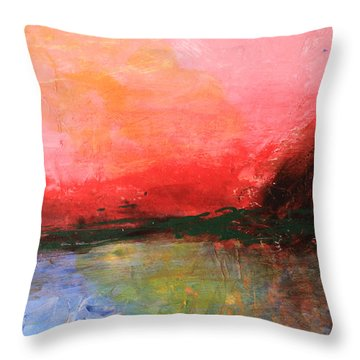 Pink Sky Over Water Abstract Throw Pillow