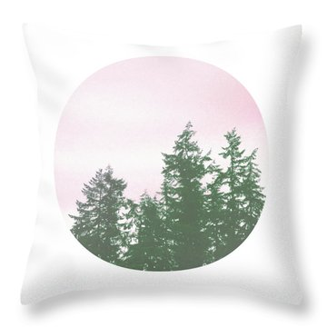 Pink Sky Trees- Art By Linda Woods Throw Pillow