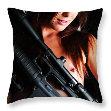 Pink Sniper Throw Pillow by Robert WK Clark