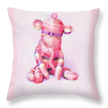 Throw Pillow featuring the digital art Pink Sock Monkey by Jane Schnetlage