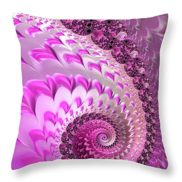 Pink Spiral With Lovely Hearts Throw Pillow