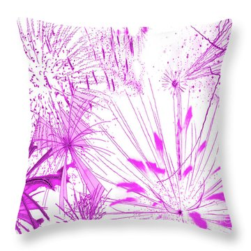Throw Pillow featuring the digital art Pink Splash Watercolor by Methune Hively